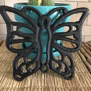 Cottagecore Black Cast Iron Butterfly Trivet